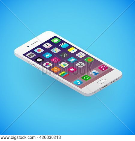 Realistic Smartphone In Isometry. Vector Isometric Illustration Of Electronic Device With Working Sc