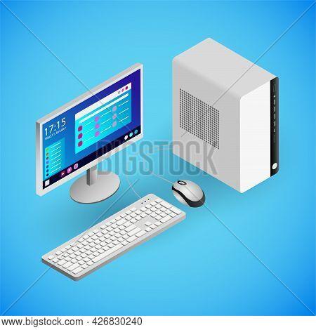 Realistic Desktop Pc In Isometry. Vector Isometric Illustration Of Electronic Device, Desktop Comput