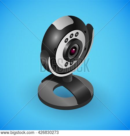 Realistic Portable Webcam In Isometry. Vector Isometric Illustration Of Electronic Device, Desktop W