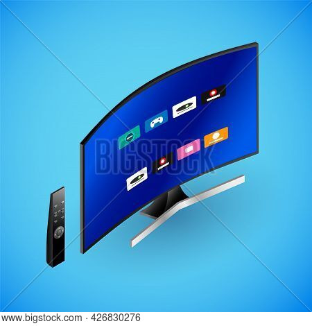 Realistic Smart Tv In Isometry. Vector Isometric Illustration Of Electronic Device, Big Tv With Work