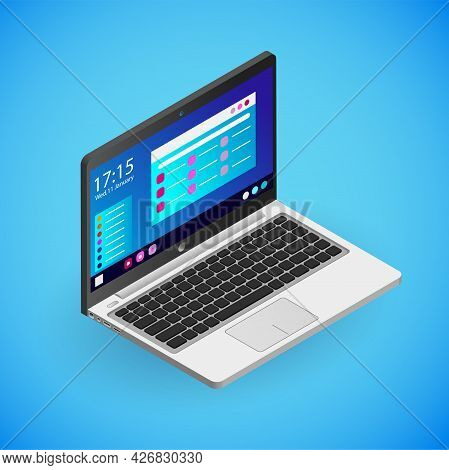 Realistic Laptop In Isometry. Vector Isometric Illustration Of Electronic Device, Notebook With Work