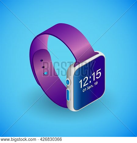 Realistic Smartwatch In Isometry. Vector Isometric Illustration Of Electronic Device, Smart Watches