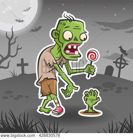 Zombie Cartoon Character. Halloween Sticker. Halloween Monster. Vector Holiday Illustration For Stic
