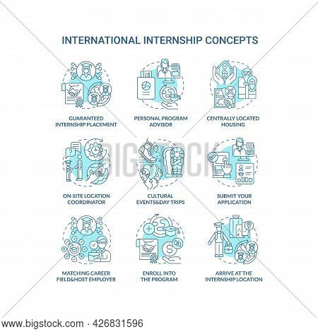 International Internship Concept Icons Set. Abroad Work Opportunity Idea Thin Line Color Illustratio