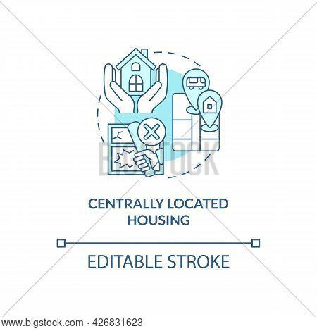 Centrally Located Housing Concept Icon. Internship Program Benefit Abstract Idea Thin Line Illustrat