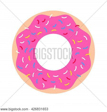 Glazed Pink Donut. Popular Dessert With Pink Icing And Colored Dressing, On White Background. Vector