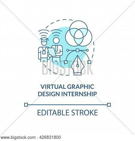 Virtual Graphic Design Internship Concept Icon. Remote Internship Abstract Idea Thin Line Illustrati