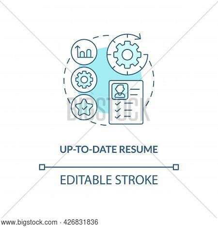 Up-to-date Resume Concept Icon. International Internship Requirement Abstract Idea Thin Line Illustr