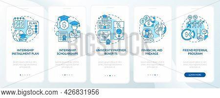 Job Training Program Funding Onboarding Mobile App Page Screen. Installment Plan Walkthrough 5 Steps