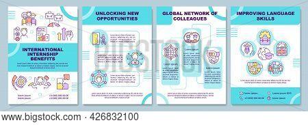 International Internship Benefits Brochure Template. Language Skill. Flyer, Booklet, Leaflet Print,