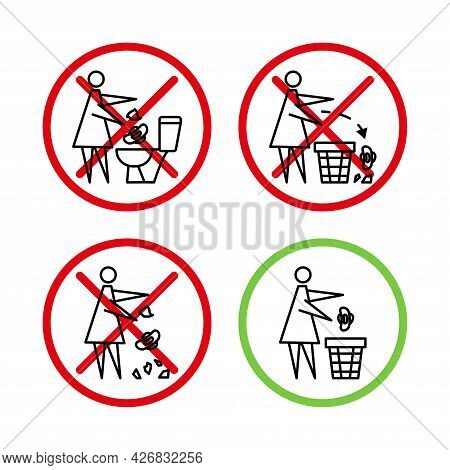 Do Not Litter In The Toilet. Toilet No Trash. Woman Throws Sanitary Towels In The Lavatory. Please U