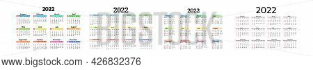 Set Of Four Calendars For 2022 Isolated On A White Background. Sunday To Monday, Business Template.