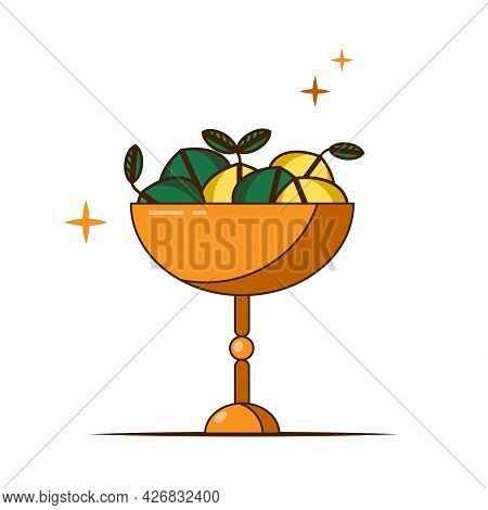 Vector Icon Of High Bowl With Fruits In A Flat Style. Antique Gold Fruit Stand. Plate With Lemons An