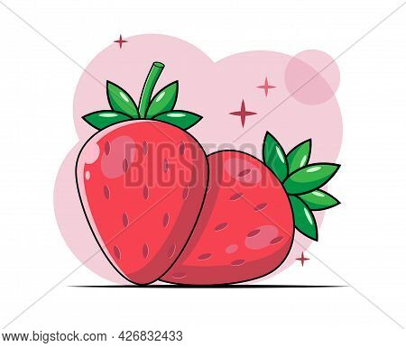 Bright Summer Set Of Flat Vector Strawberries. Ripe Fruit Icon. Red Berry. Strawberry Vector. Sweet