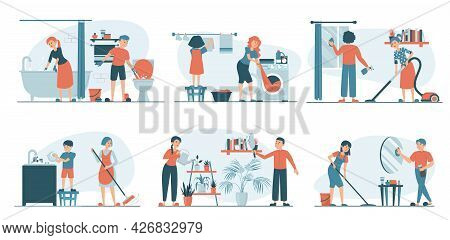 Housework Set Vector Isolated. Collection Of Families Doing House Work. Vacuum Cleaning, Clothes Iro