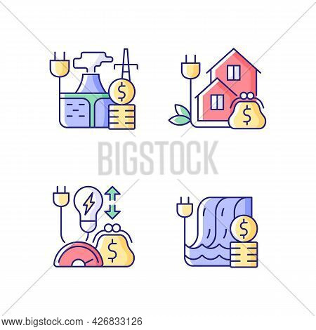 Electrical Power Cost Rgb Color Icons Set. Geothermal Energy Purchase. Green Pricing Program. Isolat