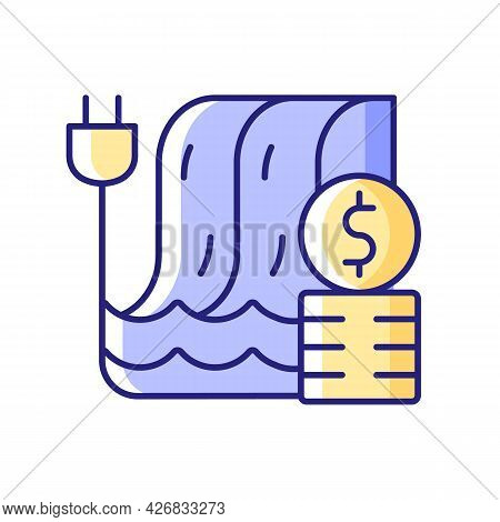Hydropower Pricing Rgb Color Icon. Water Dam For Sustainable Production Of Electricity. Financial Co