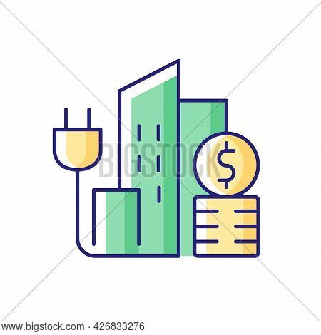 Urban Energy Price Rgb Color Icon. Electricity Consumption In City District. Power Utility Service F