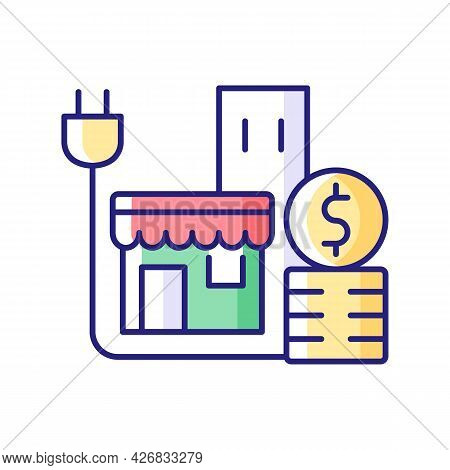 Energy Price For Commercial Customer Rgb Color Icon. Cost For Electrical Power For Shops And Stores.