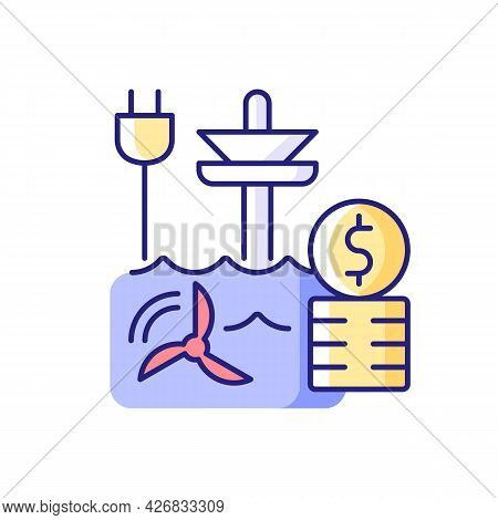 Tidal Energy Price Rgb Color Icon. Hydropower Resource Supply Production Cost. Renewable Power Gener