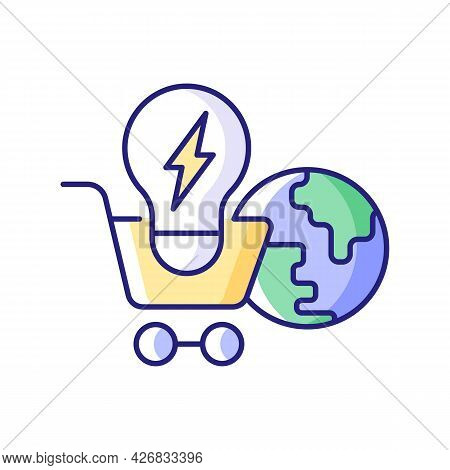 Global Energy Markets Rgb Color Icon. International Renewable Power Supply. Efficient Consumption Of