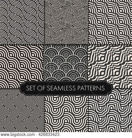Seamless Black Vector White Repeat Pattern. Repeat Simple Graphic Gold Shapes Texture. Repeat Orname