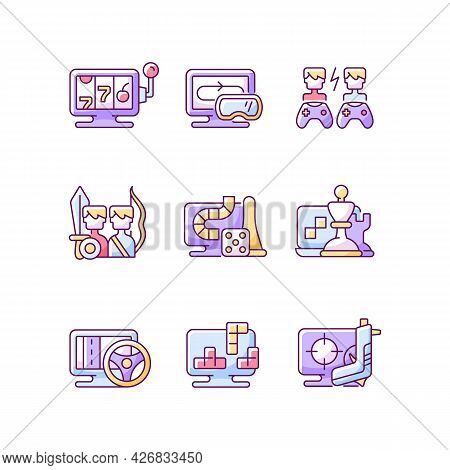 Online Gameplay Rgb Color Icons Set. Isolated Vector Illustrations.. Exciting Time With Friends. Big