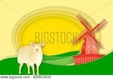 Rural Landscape With Windmill And Cute Sheep. Paper Cut Shapes And Layers As Countryside Design