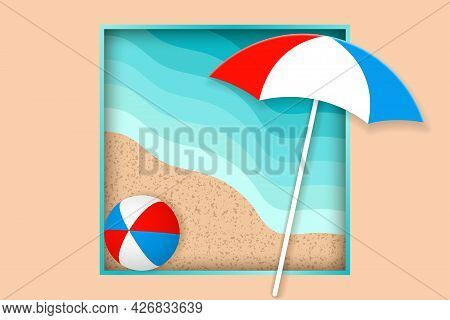 Summer Holiday Concept. Beach Umbrellal And Bright Ball On The Seacoast