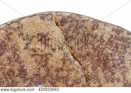 Part Of A Red Stone Isolated On White Background.