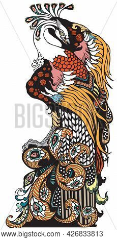 Chinese Phoenix Or Feng Huang Fenghuang Mythological Bird. Graphic Style Vector Illustration
