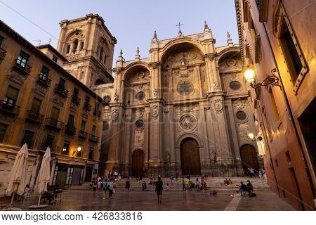 Granada, Spain - August 30, 2020: Cathedral Of Granada (world Heritage Site By Unesco). Andalucia, S