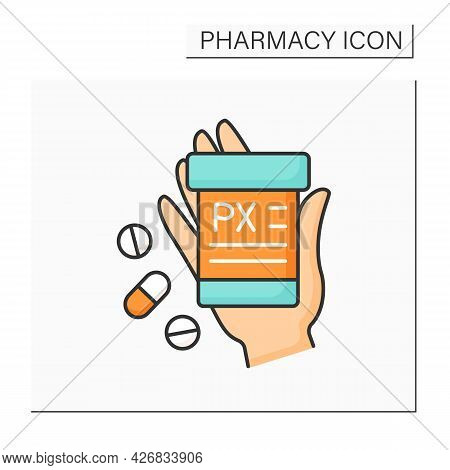 Label Color Icon.short Information About Pills. Receipt. Pharmacy Concept. Isolated Vector Illustrat