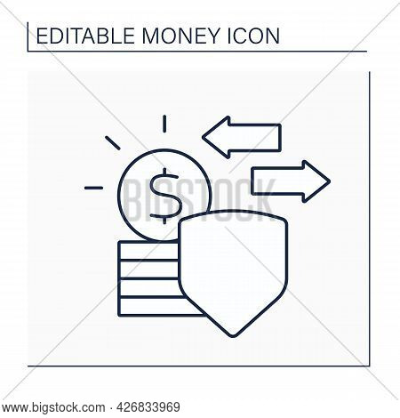Legal Tender Line Icon. Coins Or Banknotes Which Offered In Payment Of A Debt.money Concept. Isolate