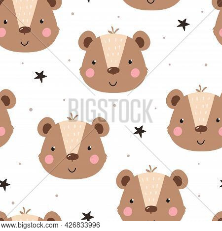 Seamless Pattern Cute Character - Animal Baby Bear. Vector Print For Baby Shower. Printable Template