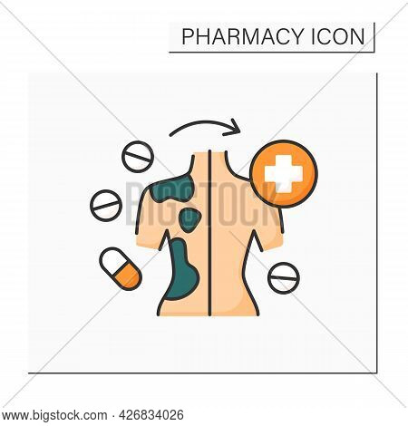 Efficacy Color Icon. Skin Cancer Treatment. Drug Therapy Treats Disasters.pharmacy Concept. Isolated