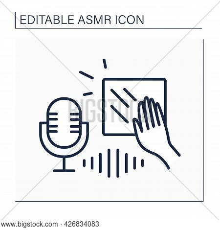 Asmr Line Icon. Scratching Objects And Recording On High-frequency Microphone. Internet Trend Concep