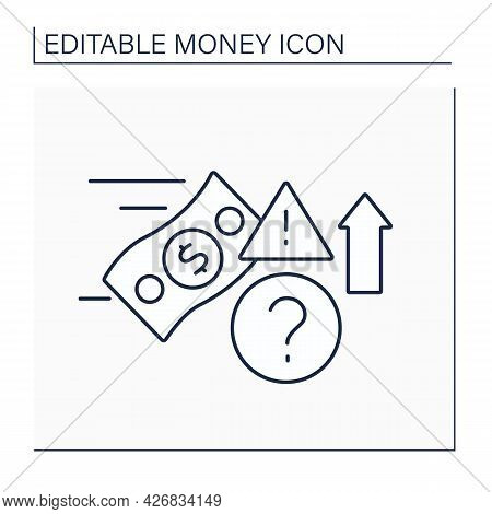 Speculate Line Icon. Speculative Trading.financial Transaction With Risk Of Losing Value. Money Conc
