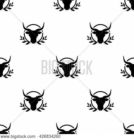 Seamless Ornament With Bull Head And Laurel. Ox, Cow Pattern. Best Farm Animal. Beef, Milk, Lactose