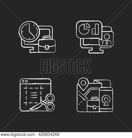 Remote Work Monitoring Chalk White Icons Set On Dark Background. Online Presentation With Marketing