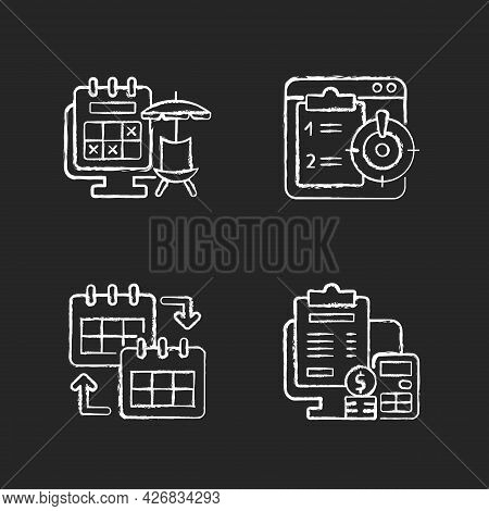 Remote Work Trackers Chalk White Icons Set On Dark Background. Vacation Leave For Employee Marked On