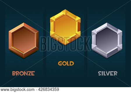 Award Badge For Game Resources, Blank Medallion Templates For Ui.