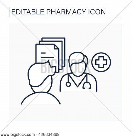 Pharmaceutical Care Line Icon. Provision Of Drug Therapy.practitioner Takes Responsibility For Patie
