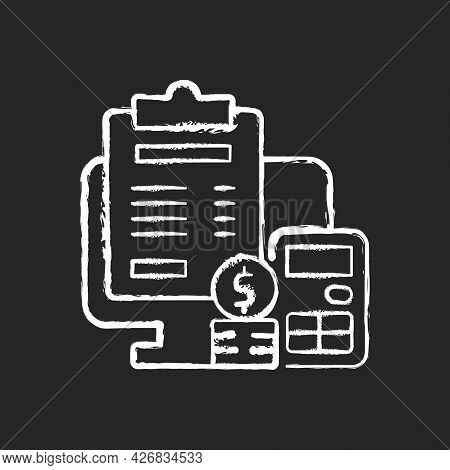 Invoicing Chalk White Icon On Dark Background. Cost Management For Business. Financial Document. Pro