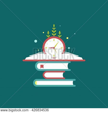 Red Open Book With Blue Clock And Grass. Isolated On Blue Background. Flat Reading Icon. Vector Illu