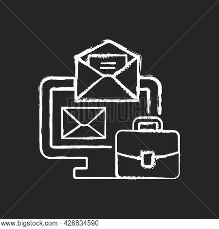 Online Mail Chalk White Icon On Dark Background. Receive Business Email. Message For Corporate Infor