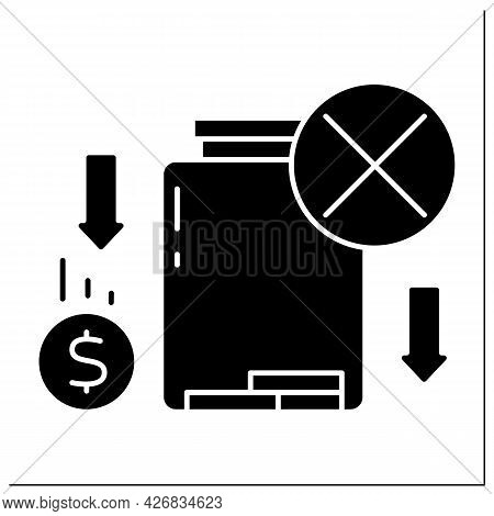 Money Glyph Icon. Loses Savings. Money Lack In Glasses Jar.poverty Concept. Filled Flat Sign. Isolat