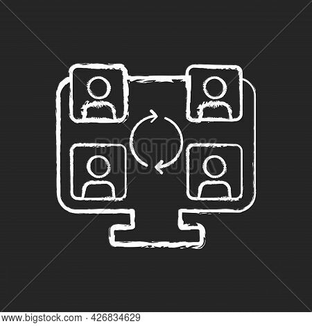 Collaboration Online Tools Chalk White Icon On Dark Background. Corporate Video Call For Business Te