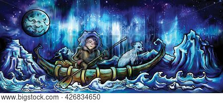 Fantasy Illustration A Man Canoeing With A Creature Like A Dog Under The Northern Lights. Digital Pa