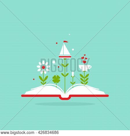 Open Book With Flowers, Sprouts, Boat And Cup Isolated On Blue Background. Vector Flat Illustration.